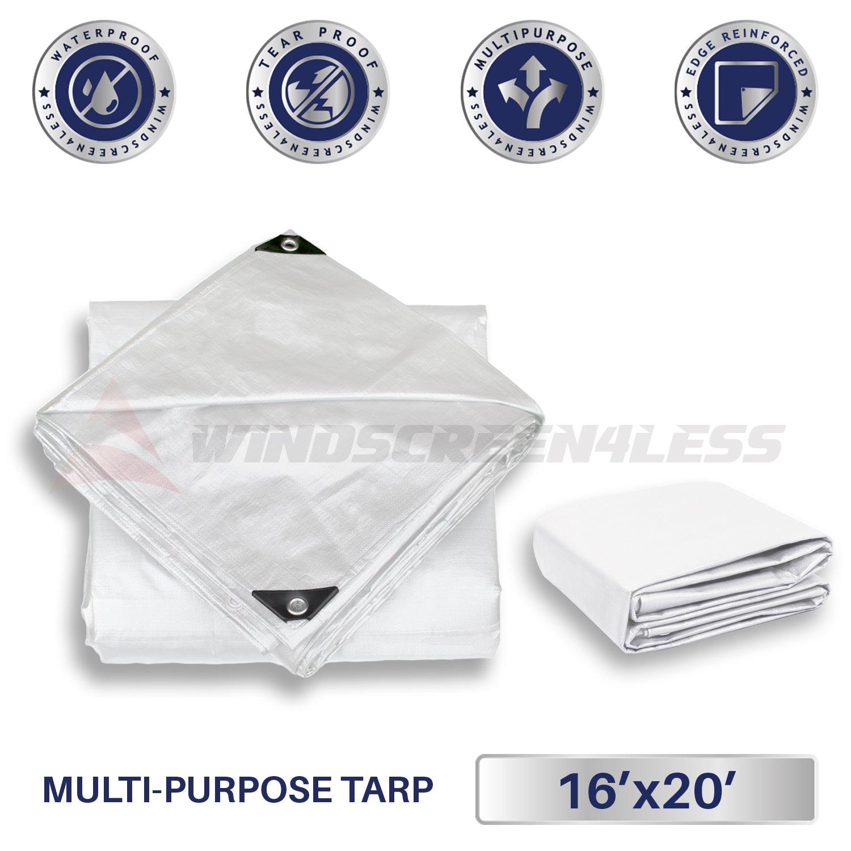 Windscreen4less 16 x 20 Heavy Duty 10 Mil Waterproof White Poly Tarp