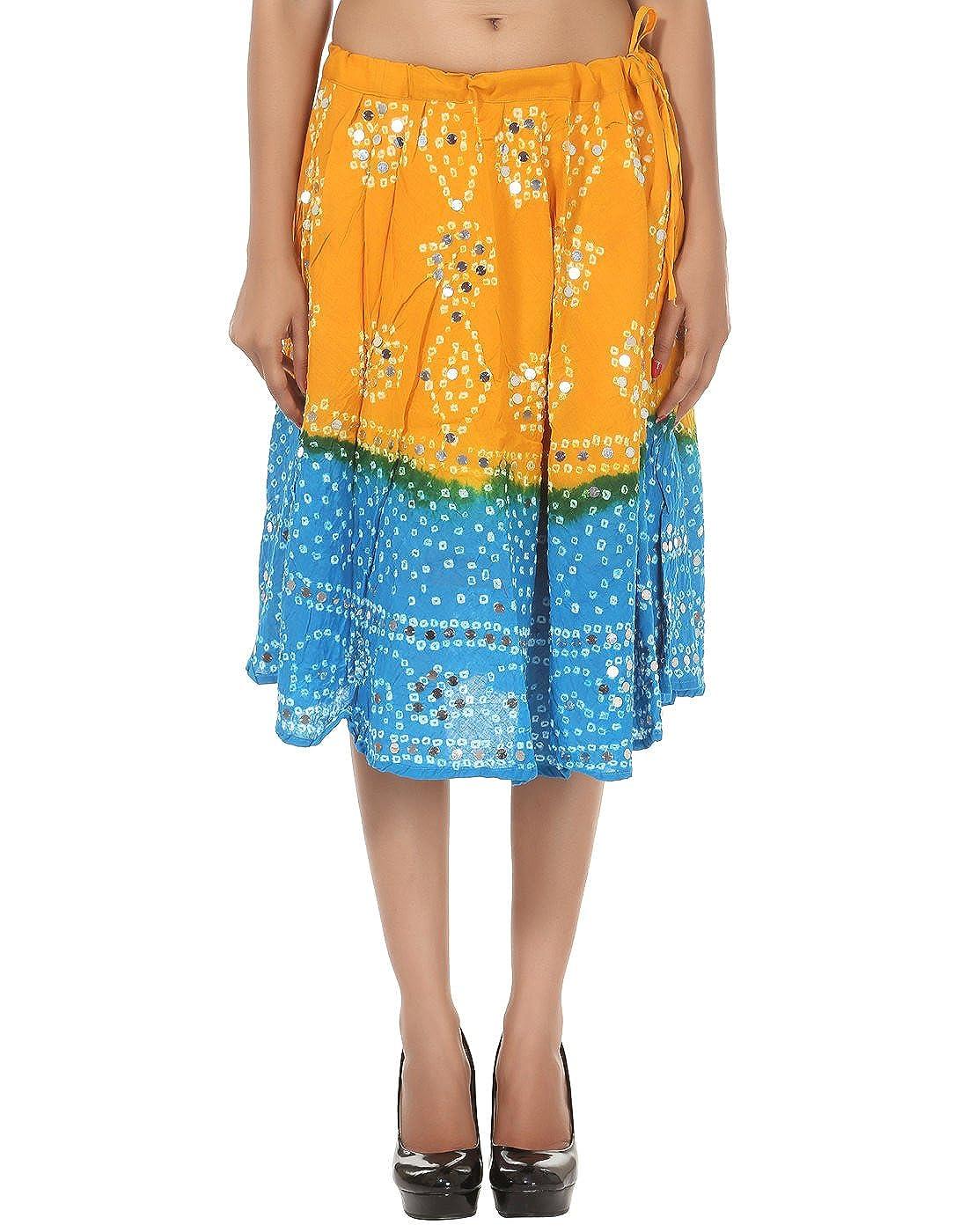 Indian Short Tie Dye, falda de lentejuelas de trabajo para mujer ...