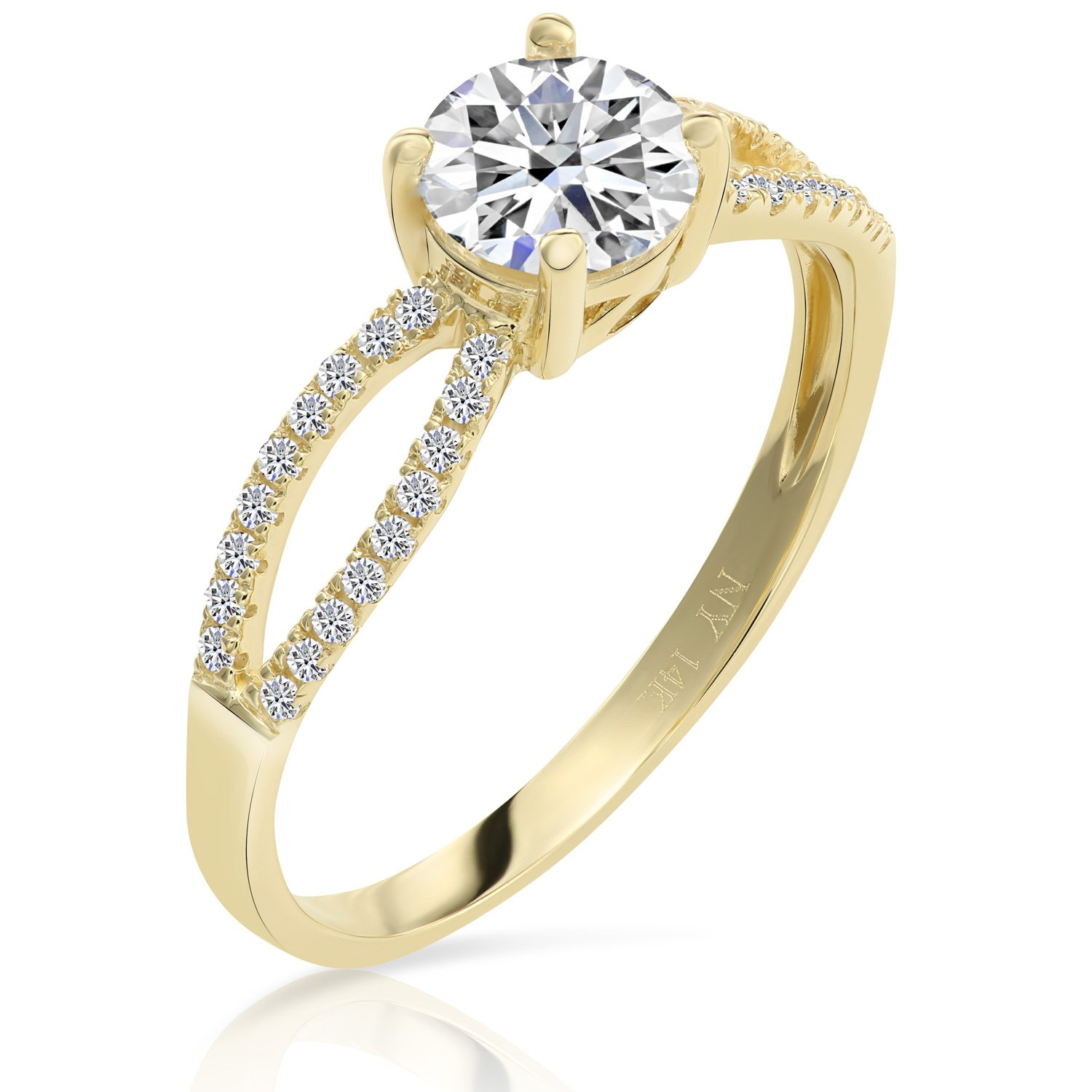 14k Gold Cubic Zirconia Engagement Ring (yellow-gold, 5)