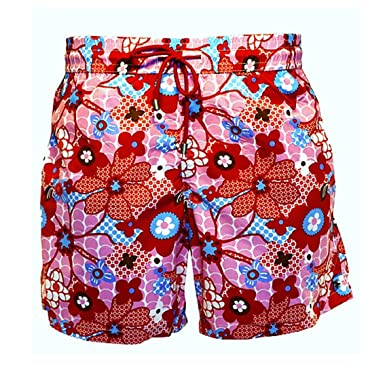 9c999cec8b Bayahibe Swimwear Short Slim Fit Quick Dry French Swim Trunk for Men with  red Flowers | Amazon.com