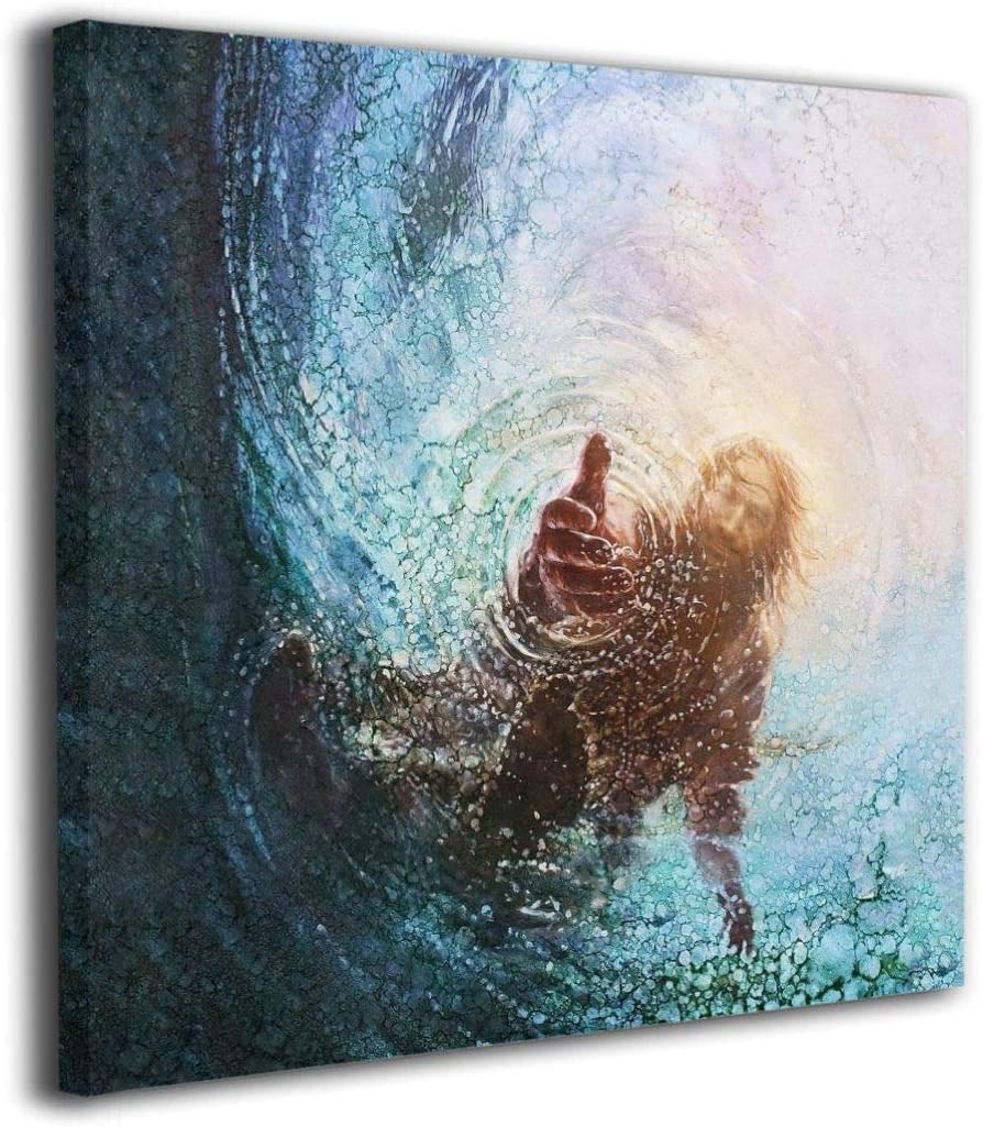 The Hand of God Painting – Jesus Reaching Into Water Oil Canvas Paintings Wall Art for Bedroom Wall Decoration Classical Canvas Wall Art Abstract Ready to Hang Inner Framed