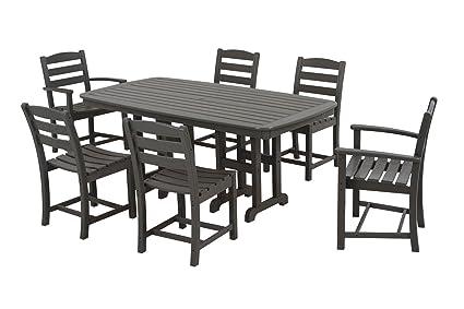 POLYWOOD PWS131 1 GY La Casa Café 7 Piece Dining Set, Slate