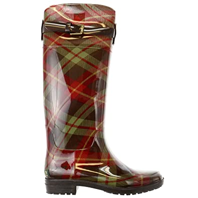 c69a892e53f Lauren by Ralph Lauren Womens Rossalyn 2 PVC Knee High Rain Boot,  Brown/Sage Multi, 8