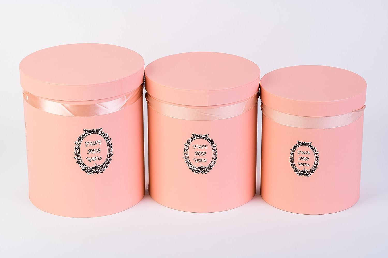 Juego de 3 cajas redondas (Just For You) sombrero caja, caja de almacenaje, caja de regalo, caja de flores – Naranja: Amazon.es: Hogar