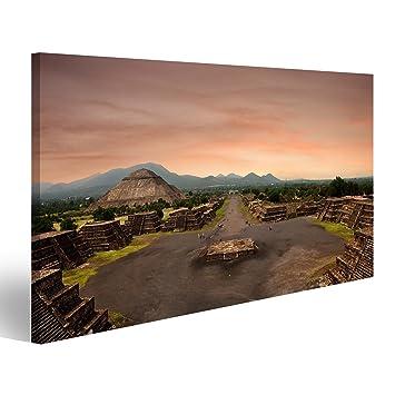 Cuadro moderno, vista panorámica de la pirámide de la Luna en la antigua ciudad maya de Teotihuacán, de México, impresión sobre lienzo, cuadros ...