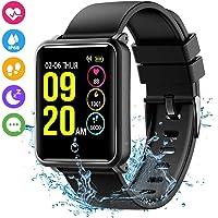 Seneo Smartwatch IP68, Orologio Fitness Tracker Uomo Donna Pedometro Cardiofrequenzimetro da Polso Calorie Monitor del Sonno Smart Watch Braccialetto Contapassi per Android iOS, Nero