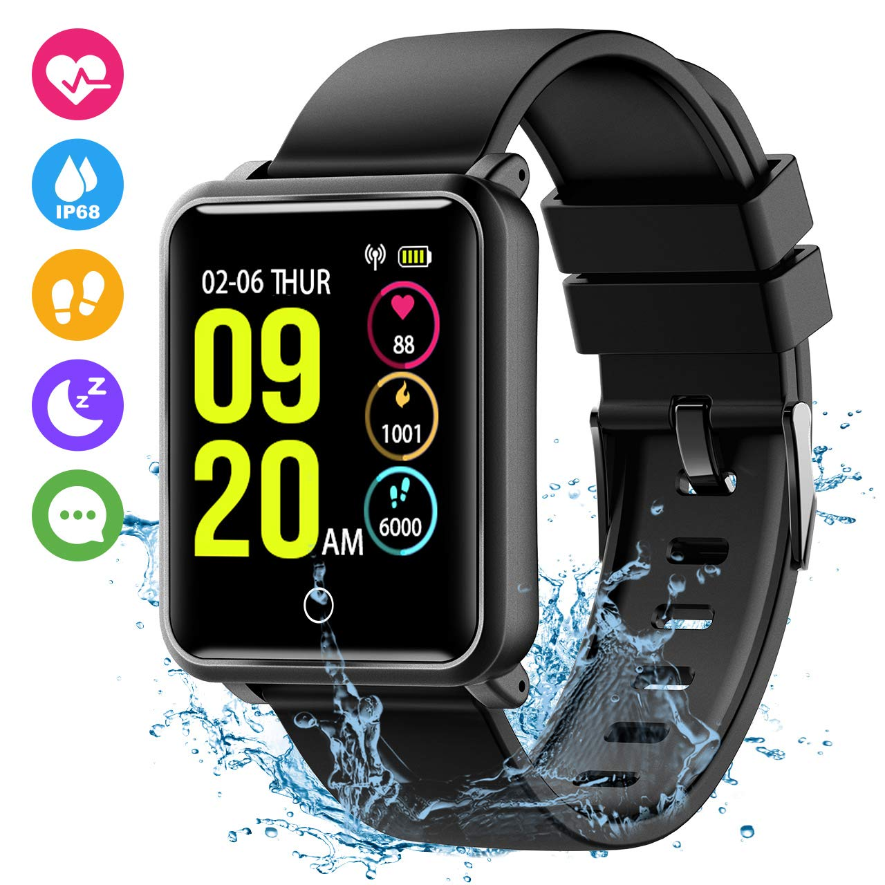 Seneo Fitness Watch, Waterproof IP68 Smartwatch