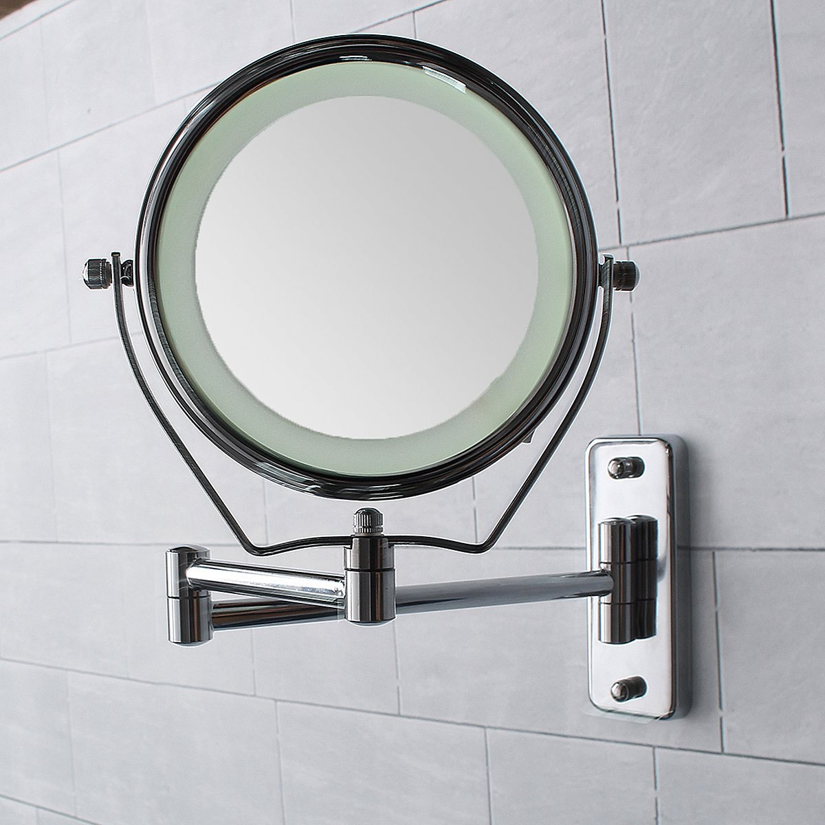 GF Wood 6 Inch Led Lights Cosmetic Mirror Vanity Double Side Makeup Mirror 7X Magnification Wall Mounted Extending Folding Bathroom Tool