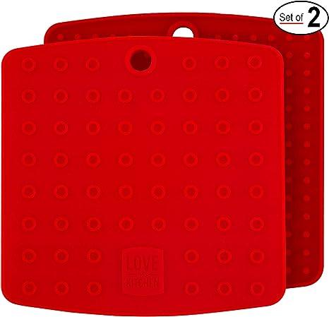 Spesso e Flessibile Fucsia - 17,8 cm Premium Sottopentola in Silicone Apribarattoli e Sottobicchiere Poggiacucchiaio Presine Tappetini Utensile da Cucina Resistente al Calore fino a 227/°C