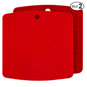 "Christmas Red Silicone Trivet Mats/Hot Pads, Pot Holders, Spoon Rest, Jar Opener & Coasters - Our Premium 5 in 1 Kitchen Tool is Heat Resistant to 442 °F, Thick & Flexible (7"" x 7"", 1 Pair)"