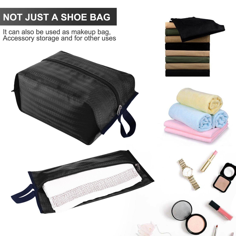 Shoe Bags with Zipper Closure Waterproof Nylon Storage Bag for Men /& Women Blue Blue Pack 4