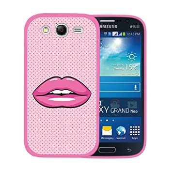 WoowCase Funda Samsung Galaxy Grand Neo Plus, [Samsung Galaxy Grand Neo Plus ] Funda Silicona Gel Flexible Labio Rosa Brillante, Carcasa Case TPU ...