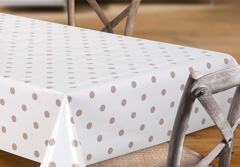 Rund 100 cm lavable ideal para jard/ín redondo Crema lisa Mantel de hule color crema con lunares beis pvc rectangular Beautex tama/ño a elegir puntos beige ovalado liso