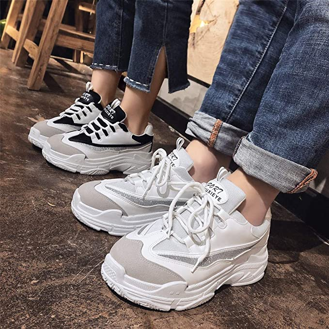 Beladla Zapatillas Deportivos Mujer Hombers Cordones Running Zapatos De Plataforma Fondo Grueso Zapatillas De Deporte Casual Zapatos Planas: Amazon.es: Ropa ...