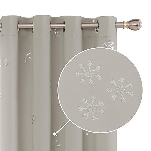 Deconovo Cortina Opaca Moderna y Térmica Aislante con Nieve Plateada con Ojales 2 Piezas 140 x 245 cm Beige Claro