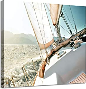 "Sailboat Picture Seascape Wall Art: Nautical Artwork Print on Canvas Painting for Bedrooms (16""x 12""x1 Panel)"