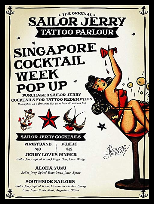Sailor Jerry Tattoo Parlour Pintura de Hierro Cartel de ...