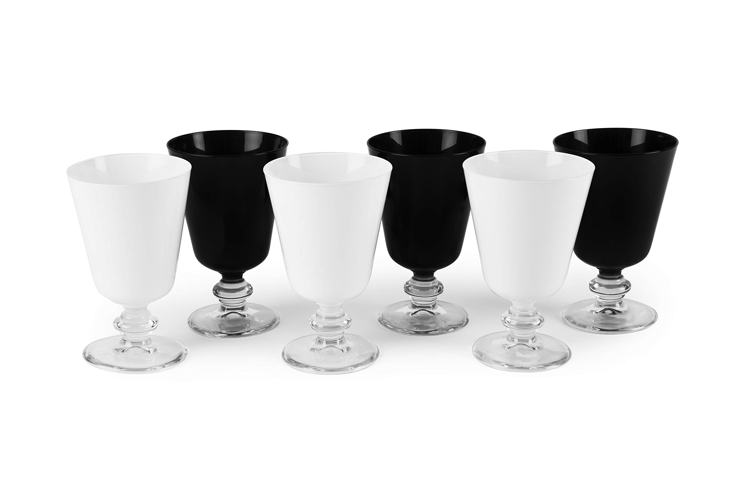 Excelsa Noble Wine Set of 6 Glasses, Glass, White and Black