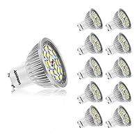 Ampoule LED GU10, 7W 18 x 5730 SMD Lampe LED, Blanc Froid 6000K, 550lm, AC85-265V, 140°Larges Angle d'Éclairage Ampoule Spot LED by Jpodream - Lot de 10