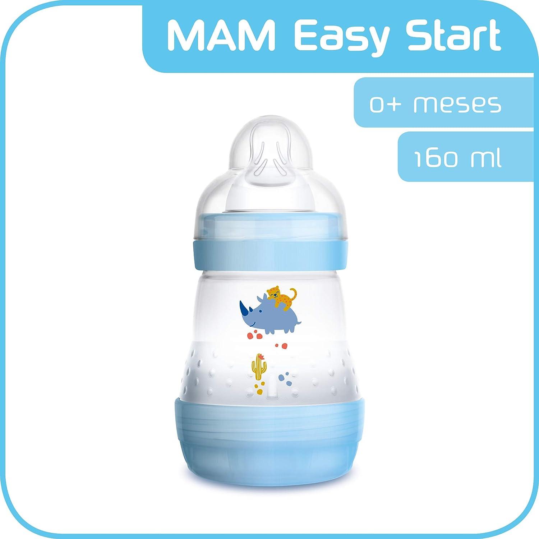 azul MAM Easy Start Anti-Colic 160 ml Biber/ón antic/ólicos con base de ventilaci/ón biber/ón MAM autoesterilizable con tetina MAM n/º 1 de silicona extrasuave 0+ meses
