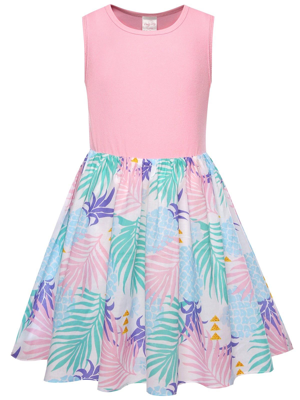 Bonny Billy Girls' Summer Pineapple Cotton Tanks Dress for Children 5-6 Years Pink