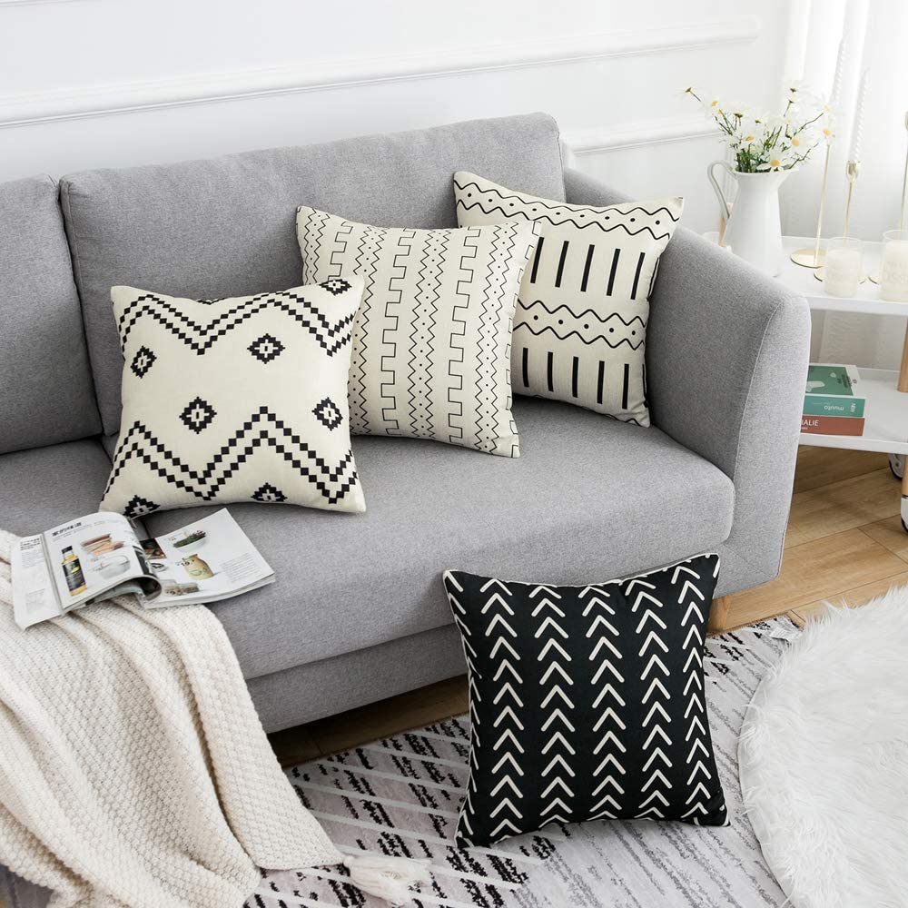 Wlnui Set Of 4 Pillow Covers 18x18 Pillow Covers Modern Throw Pillow Covers Black Boho Geometric Mudcloth Linen Neutral Decorative Pillow Covers For Sofa Couch Chair Home Kitchen
