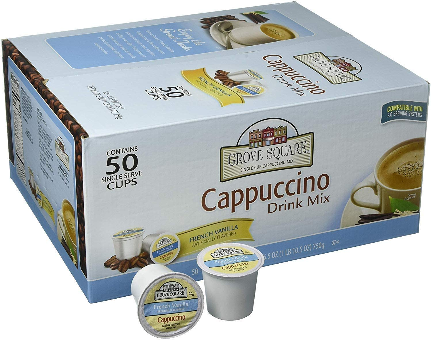 Grove Square Cappuccino, French Vanilla, 50 Single Serve Cups (Packaging May Vary) (3 Case(50-Pack))