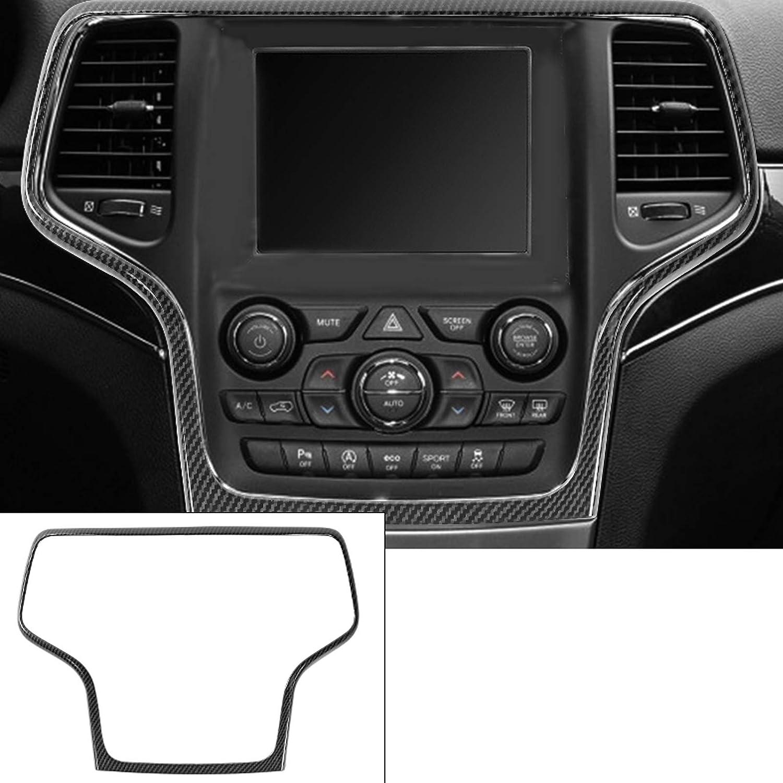ABS Carbon Fiber 1PC Tocatus Center Console Navigation GPS Radio Panel Trim Interior Accessories for 2014-2018 Jeep Grand Cherokee
