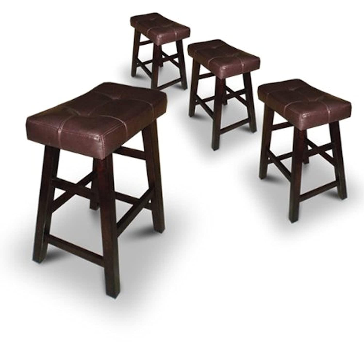 Amazon 4 Dark Espresso Wood Bar Stools with Bonded Faux