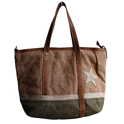 fd5870fc97 Shopping-et-Mode - Sac à main camel et kaki en tissu toilé, façon ...