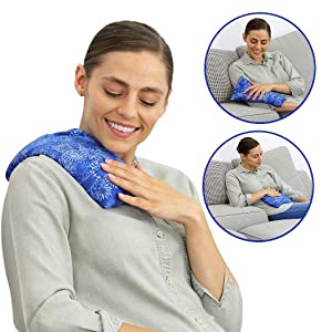 Nature Creation- Basic Herb Pack Heating Pad- Aromatherapy - Hot and Cold Therapy (Blue Flowers)