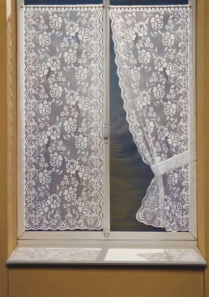 HomeMaison Bonne-Femme Paire de Rideaux à Dentelle, Polyester, Blanc, 160x90 cm HM6930638A