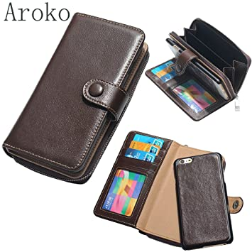 iphone7plus auténtica funda tipo cartera para hombre piel auténtica de embrague bolsa bolso organizador chequera cartera tarjeta caso para iphone7plus 5.5 ...