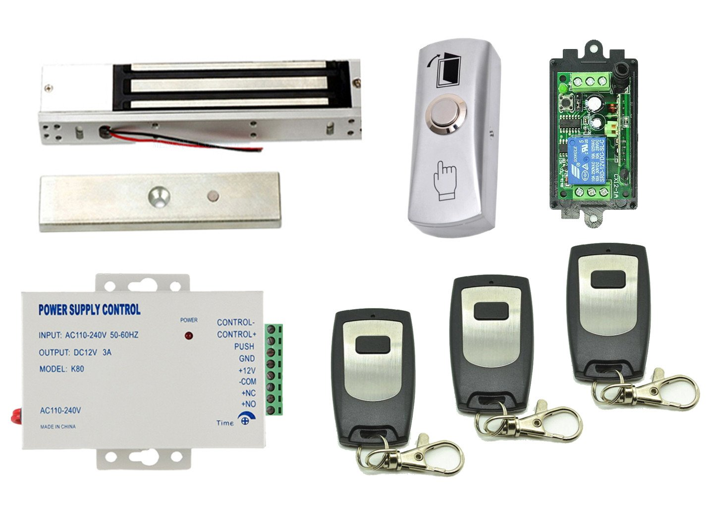 One Door Access Control outswinging Door 600lbs/280kg Force Magnetic Lock kit with 1 Wireless Receiver +3 Remote Control +110V Power Supply+Mounted Exit Button SecureControl