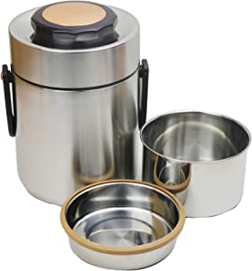Stainless Steel Thermal Lunch Container,Thermos Food Jar, 3 Tier Wide Mouth Soup Thermos,Insulated Food Thermos Flask with Handle for Hot Food,Travel Adult Food Carrier Bento Box (51oz, Silver)