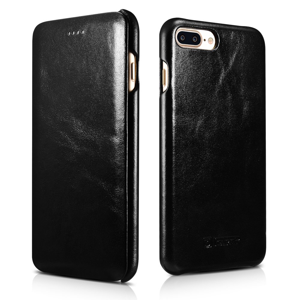 buy popular c7ae3 14172 iPhone 8 Plus Case iPhone 7 Plus Leather Case, Icarercase Vintage Leather  Side Open Case in Slim Thin Design, Flip Folio Style Cover with Magnetic ...