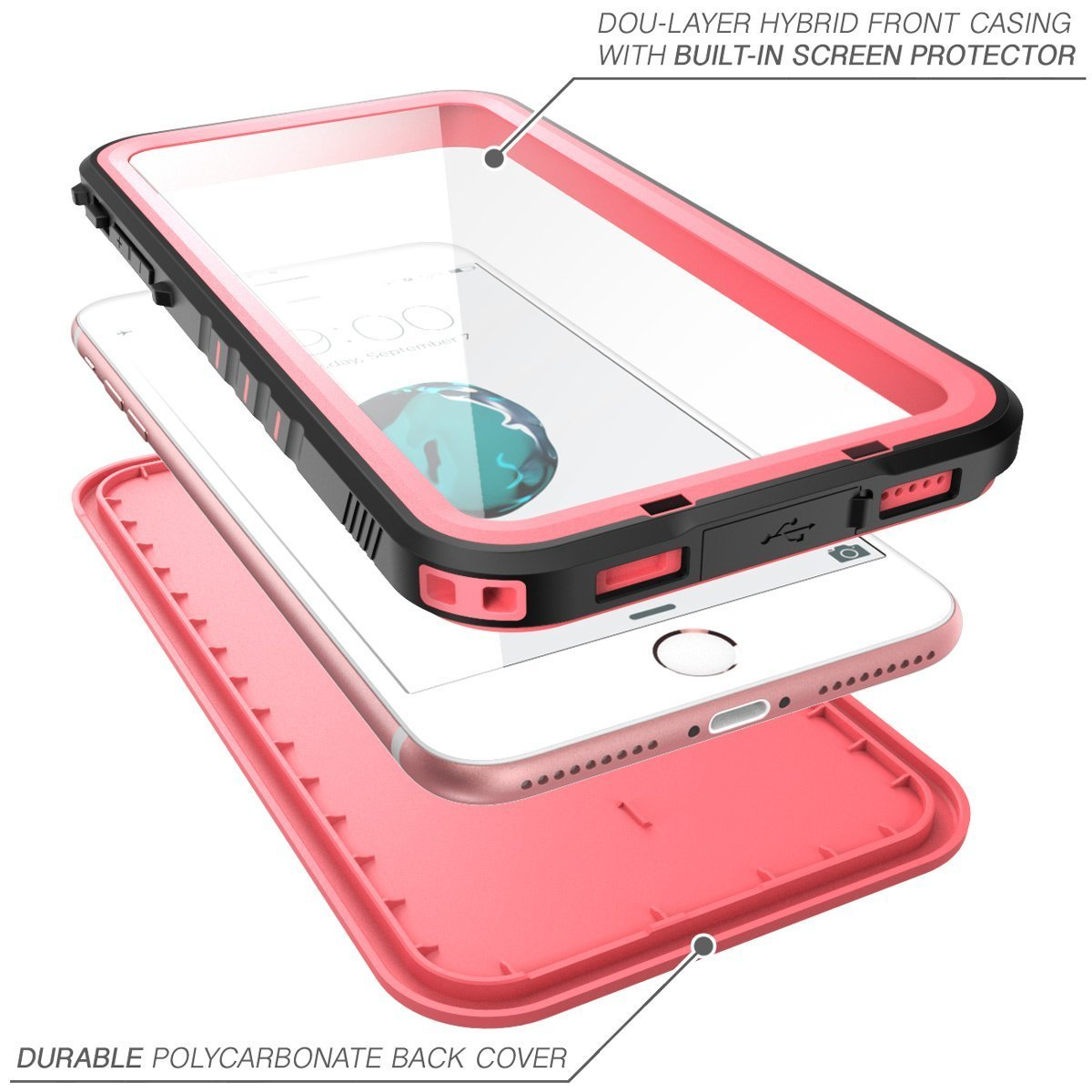 iPhone 7 Plus Case, NexCase Waterproof Full-body Rugged Case with Built-in Screen Protector for Apple iPhone 7 Plus 5.5 inch 2016 Release (Pink) by NexCase (Image #3)