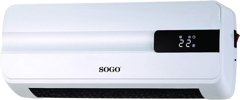 SOGO SS-18360 Calefactor Cerámico de Pared Split, 2000 Watts PTC, Sensor ventanas Abiertas,Temporizador Semanal, Termostato Digital, Función Ventilador, Color Blanco