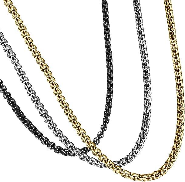 Edelstahl Herren Damen Kette Panzerkette Collier Halskette Weizenkette Kette