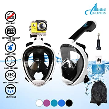 Apnea Full Face máscara de snorkel – EASYBREATH Snorkeling máscara – respirar tanto de la nariz