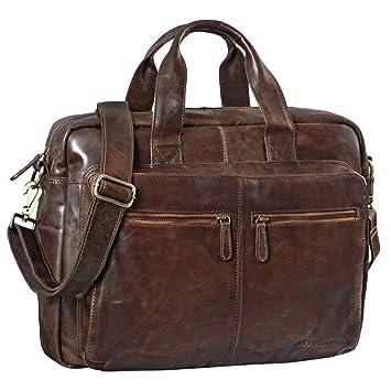 d60fa6a5a8981 STILORD  Leandro  Ledertasche Herren Laptoptasche 15.6 Zoll braune  Messenger Bag multifunktional tragbar als Handtasche