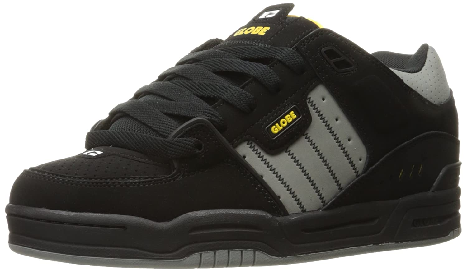 Globe Mens Fusion Skate Shoes 11.5 D(M) US|Black/Grey/Yellow