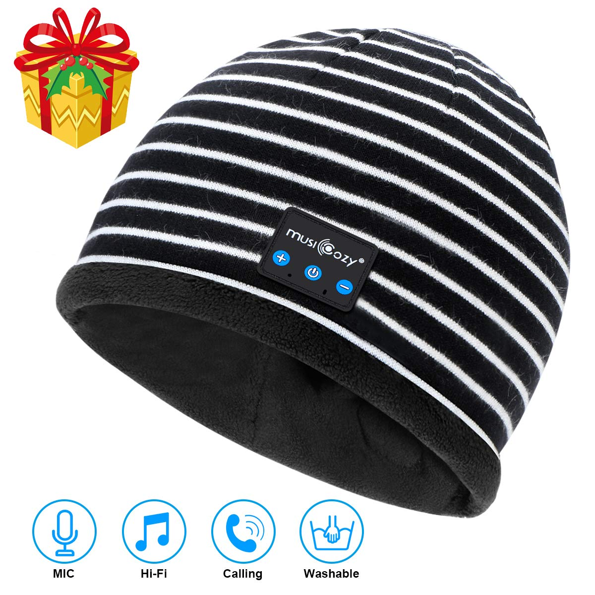 Bluetooth Beanie V5.2 Wireless Beanie Hat with Bluetooth Headphones,Built-in HD Stereo Speakers & Mic,Cool Tech Gadgets Christmas Unique Gifts for Men Women Dad Mom Teen Boys Girls