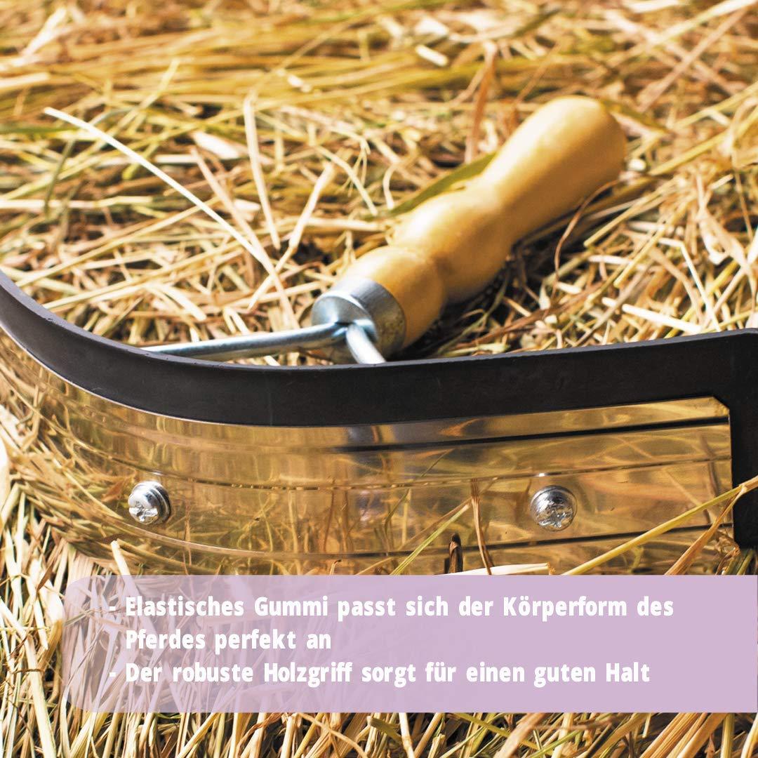 Pferdelinis Sudor Cuchillo Acero Inoxidable con Madera Mango para Caballo Burro y de Cabra de 2/en 1/Funci/ón para abstreifen y Limpiar