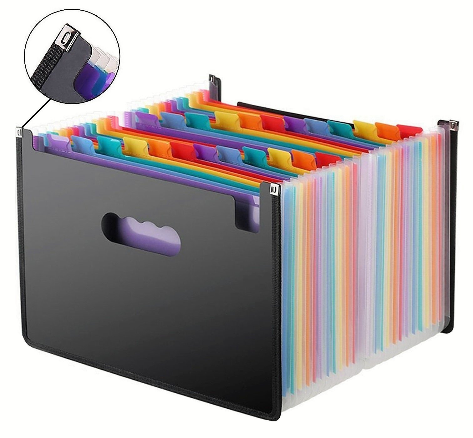 Expanding File Folder, 24 Pocket Multicolored, File Organizer, Cloth Edges, Durable, A4 & Letter Size Document - Office/Business/School