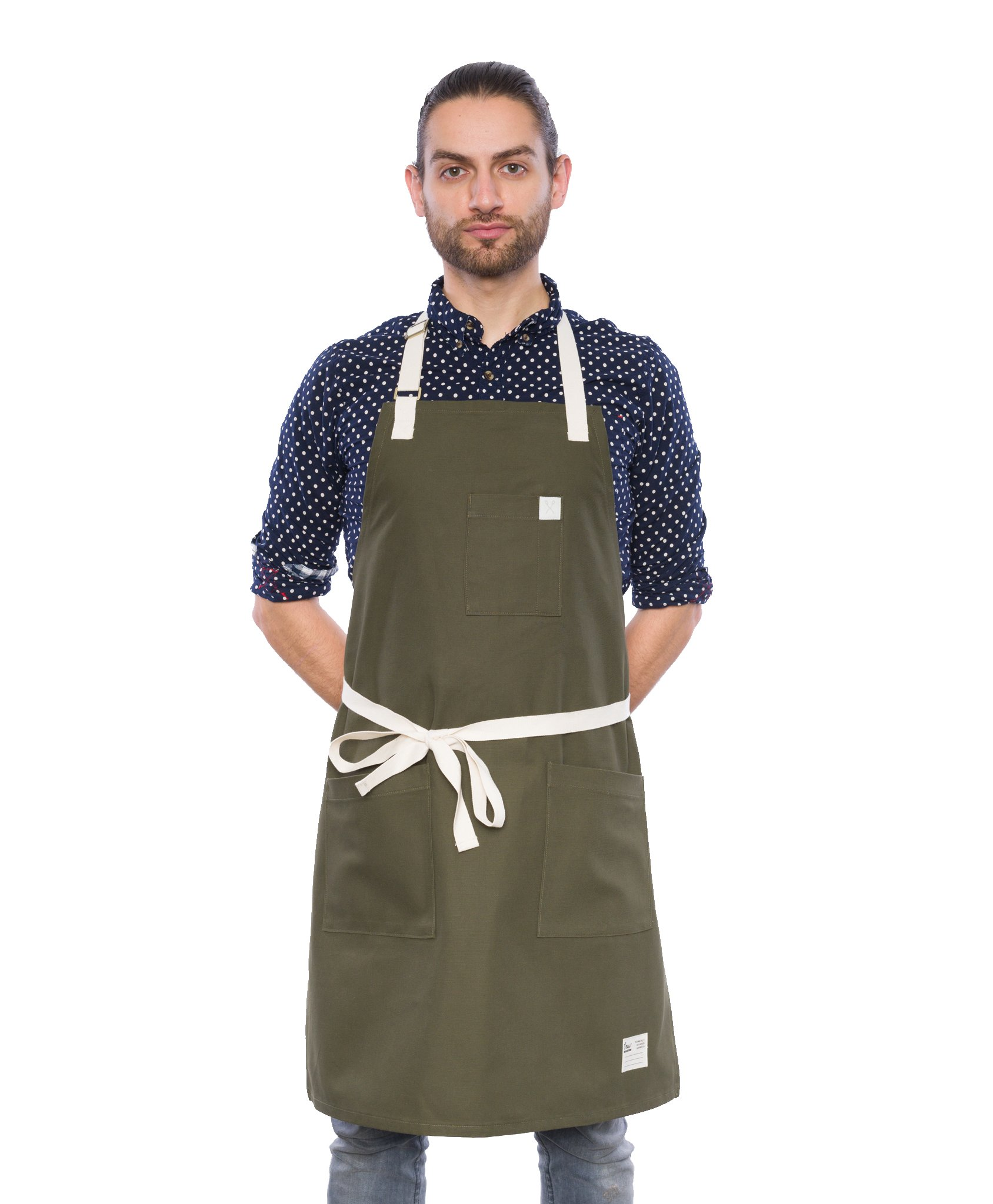 Crew Apparel Olive Gardener Standard American Brushed Canvas Apron Made in USA by Crew Apparel