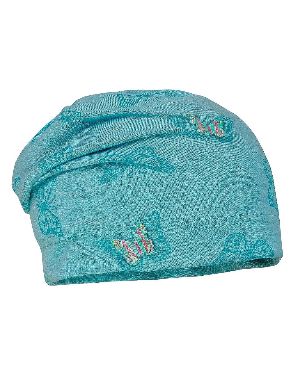maximo Beanie, Melangejersey Bedruckt, Bonnet Bébé Fille, Multicolore (Porzellan-Schmetterling/Porz-Punkte 3638), 49 83500-997500