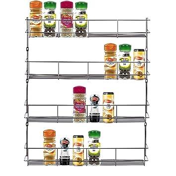 Four tier Back of door Spice, jar & packet rack -Chrome: Amazon.co ...