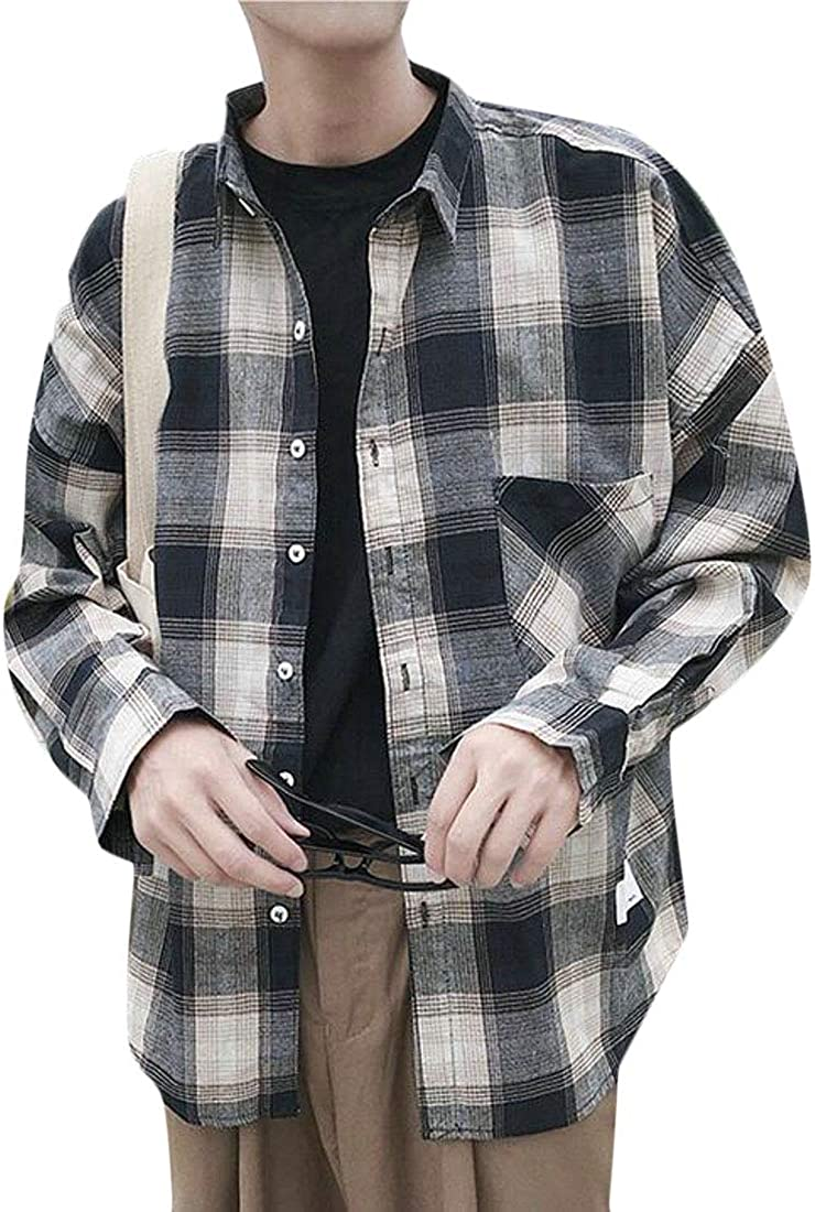 ARTFFEL Men Plaid Long Sleeve Button Down Casual Washed Flannel Checkered Shirt