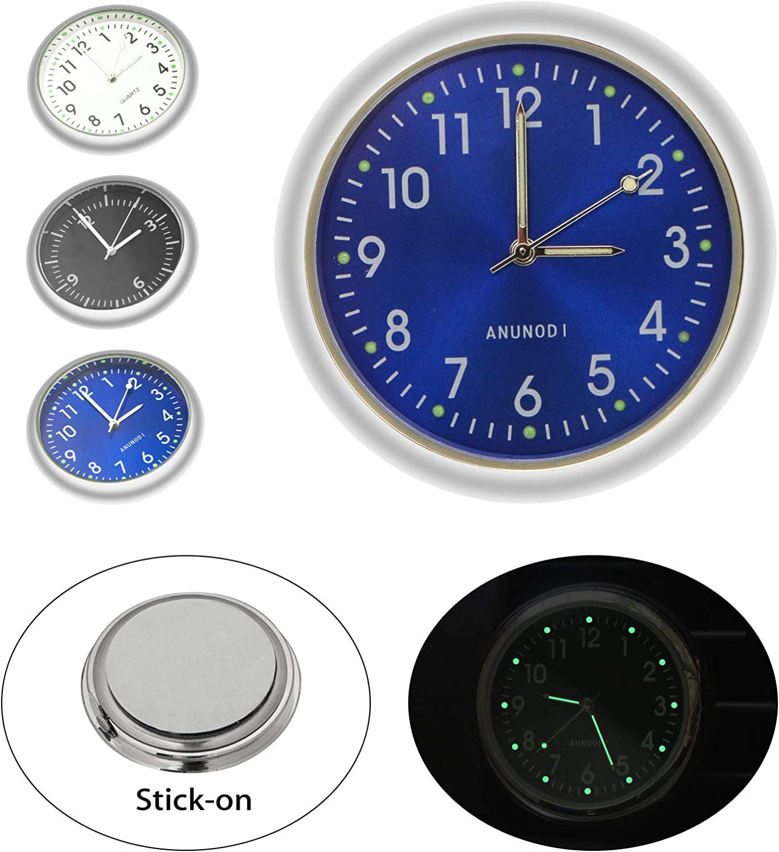 Car Clock, EEEKit Luminous Quartz Analog Watch Universal Pocket Mini Stick-On Clock for Car Boat Bike Home